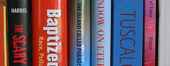 spines of several books