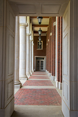 a long hallway in Shelby Hall