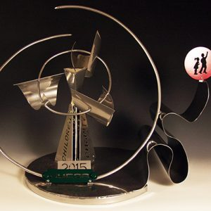 Allison Sloan's sculpture of a golf swing for the NUCOR Children's Charity Classic.