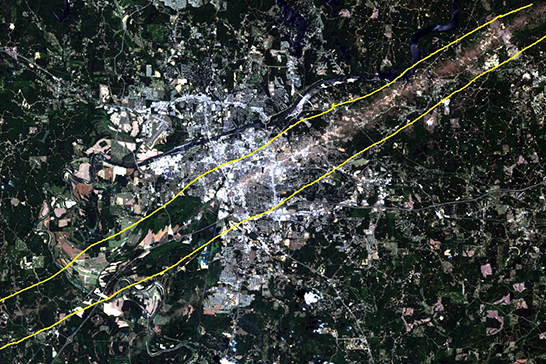 Satellite image of the path the 2011 Tornado took