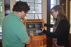 Visitors to UA's Museum of Natural History can explore earth science with the IRIS Active Earth Monitor Kiosk, whose acquisition was a joint venture with the Department of Geological Sciences.