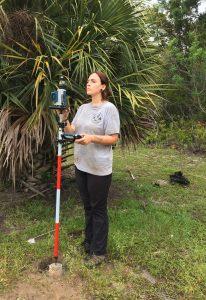 Cayla Colclasure uses new equipment on Creighton Island.