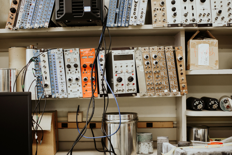 various computer components on a shelf
