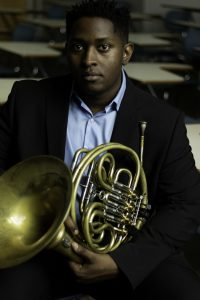 Joshua Williams and his French Horn.