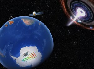 an artistic rendering of the Earth and a nearby galaxy
