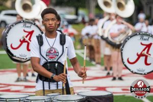 A band member at the Friends and Family Preview Show at Butler Field.