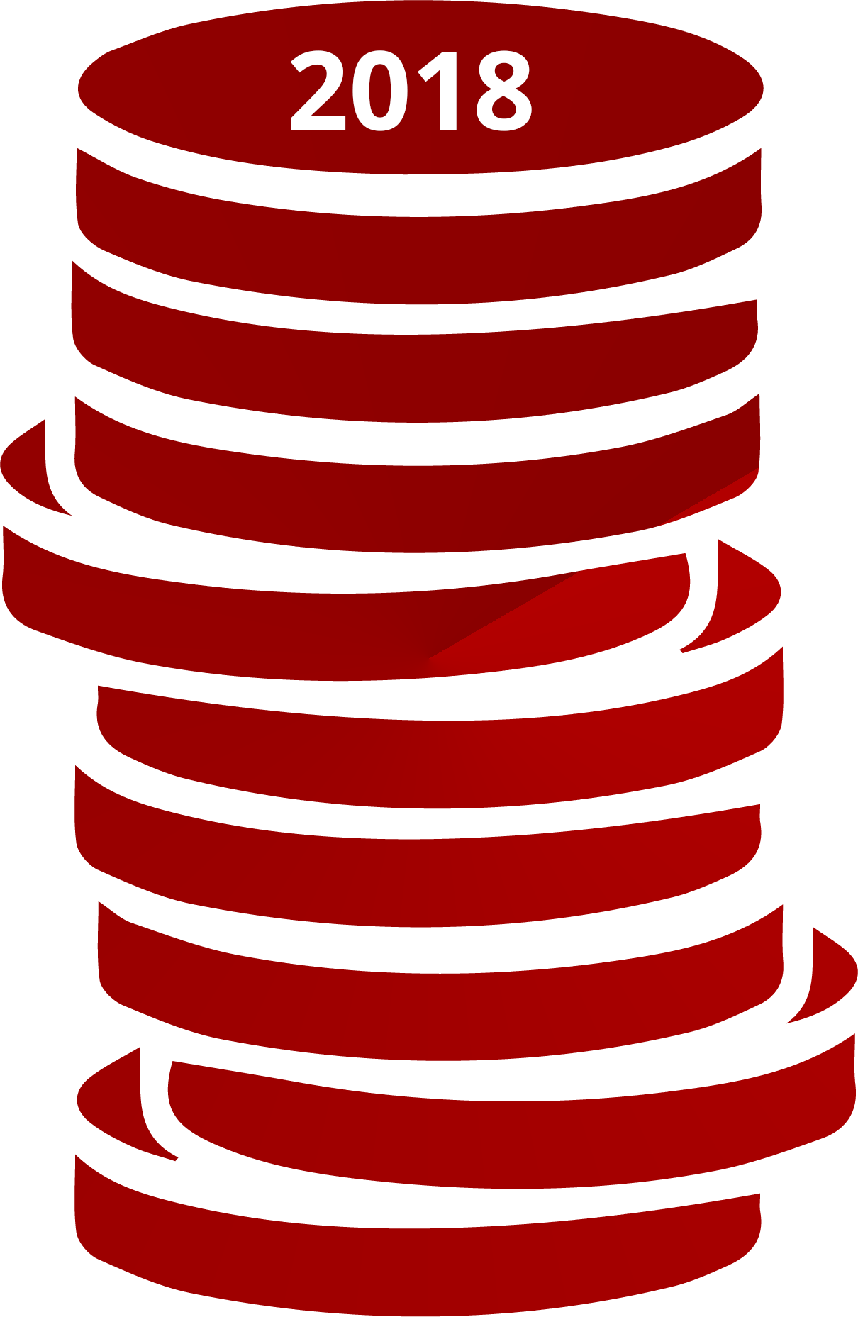 illustration of a stack of coins dated 2018