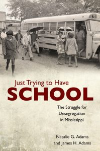 book cover for Just Trying to Have School by Natalie Adams