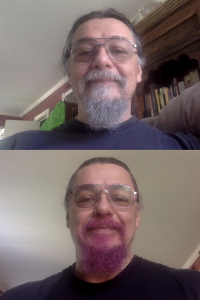 Top: Dr. Cruz-Uribe with a gray beard. Bottom: Dr. Cruz-Uribe with a Crimson Storm beard.