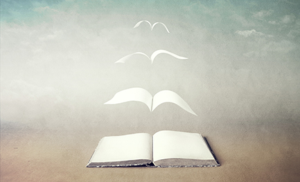 illustration of a book, lying open on a surface