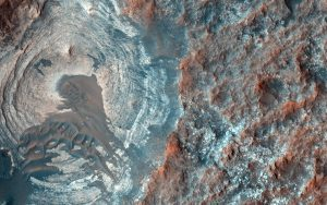 Blue, red and brown land on Mars.