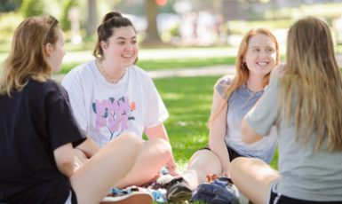 group of female students on the Quad