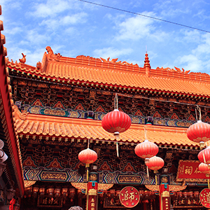 a Chinese building with tiled roof