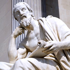 a statue of the Greek historian Herodotus