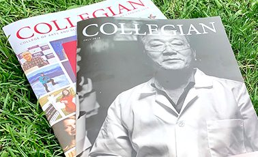 a small pile of Collegian magazines