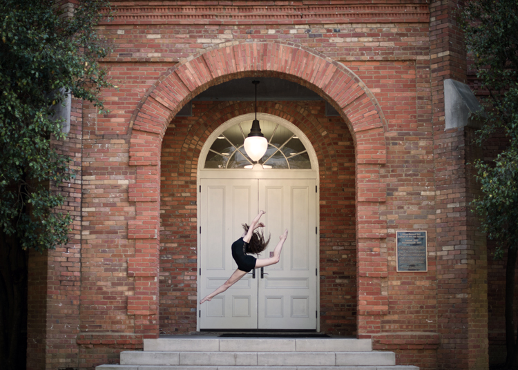 dancer on the steps of a Oliver-Bernard Hall