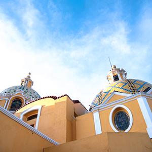 a yellow church