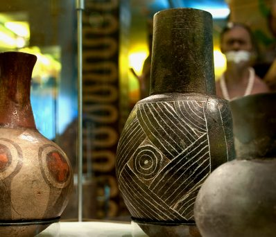 assorted examples of pottery from the Moundville site; these are on display in the Jones Archaeological Museum in Moundville