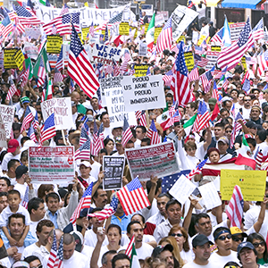 a large political demonstration