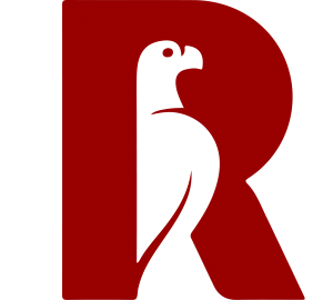 a letter R with an eagle in the middle