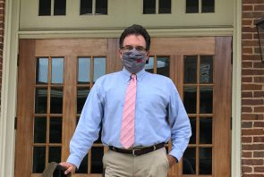 Dean of the College Dr. Joseph Messina wearing a face mask