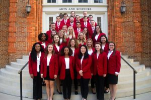 2019-2020 College of Arts and Sciences Ambassadors in front of Clark Hall
