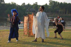 Three actors in the park