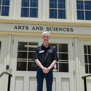 John Conger in front of Clark Hall