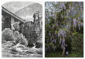 black and white illustration from 1872 of an industrial bridge over a river next to a contemporary photograph of nature