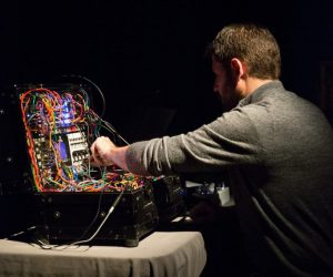 Andrew Raffo Dewar performing with synthesizer
