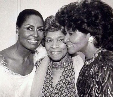black and white photo of Shirley Verrett, Marian Anderson, and Grace Bumbry